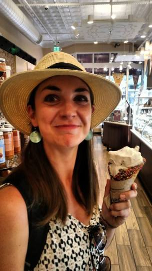 Giant-sized happiness with this giant-sized ice-cream cone at Kilwin's in Boulder, Colorado