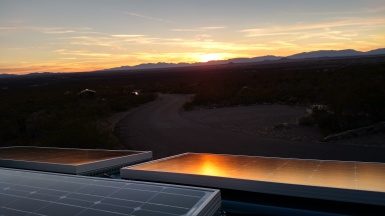 Our 100 W solar panels soaking up the last of the sun's rays.