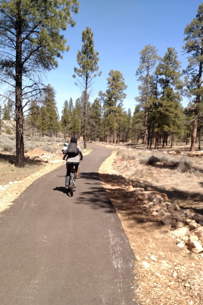 Biking arizona trail to south rim