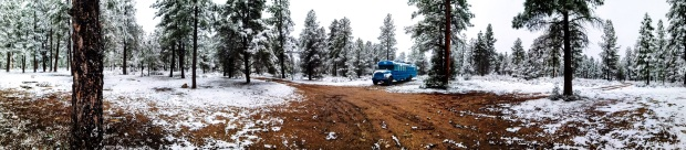 Snowy winter camping in the kaibab national forest